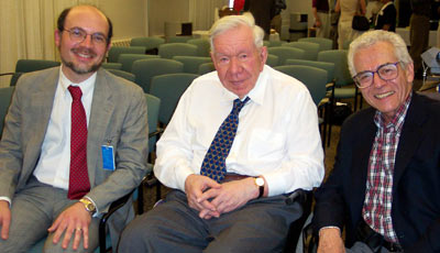 Picture of 3 former chairs taken at the Annual Lehmann Day Symposium, 2003. From left to right: Dr. L. Robinson, Dr. J. Lehmann, Dr. W. Stolov.