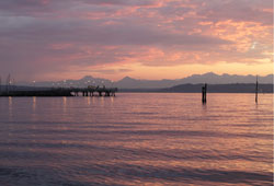 View of Elliot Bay and Olympic Mountains at sunset.