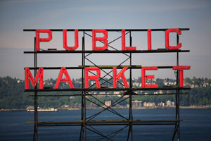 Pike Place Market - Public Market sign overlooking Elliot Bay